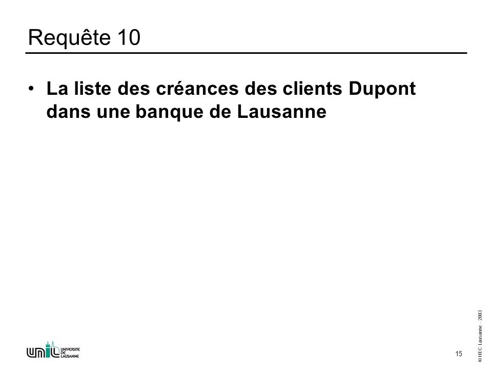 © HEC Lausanne - 2003 15 Requête 10 La liste des créances des clients Dupont dans une banque de Lausanne