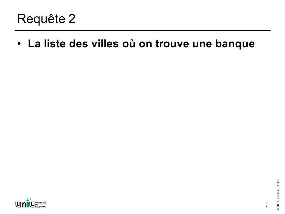 © HEC Lausanne - 2003 7 Requête 2 La liste des villes où on trouve une banque