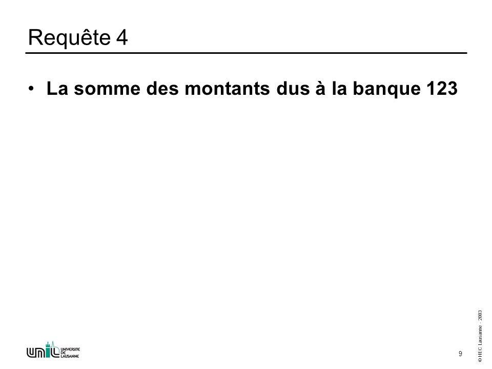© HEC Lausanne - 2003 10 Requête 5 Le nombre de banques à Lausanne