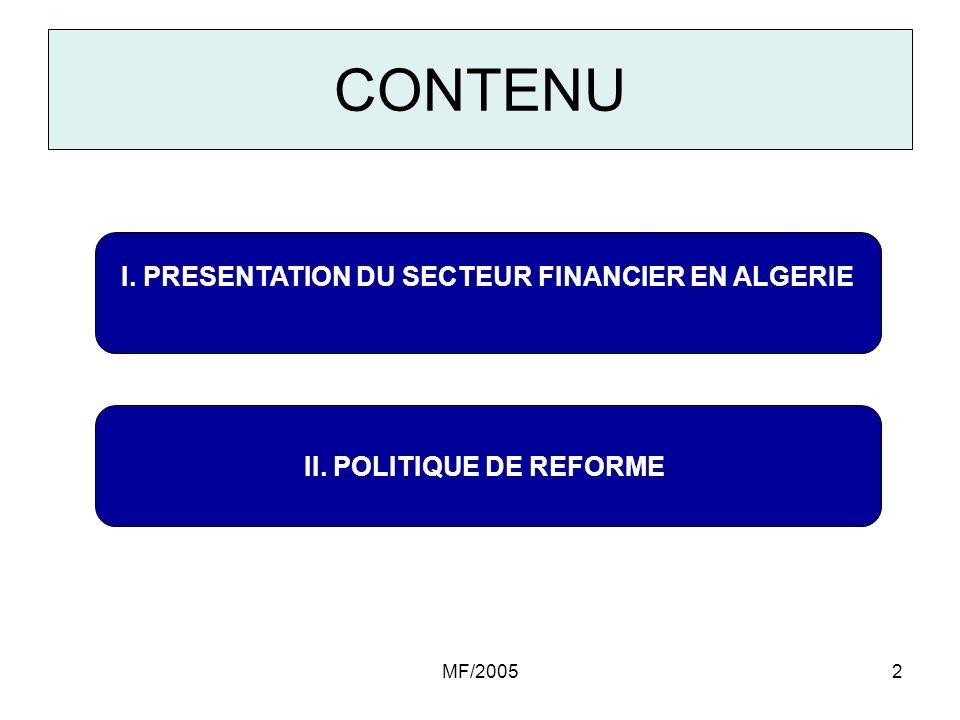 MF/200513 Caractéristiques du marché des Assurances (suite) Les indicateurs quantitatifs dactivité sont : –Faible taux de pénétration : 0,65% (primes collectées, par rapport à la PIB) –Dépenses dassurances par habitant de 12,6 US$ en 2003 (représentant le tiers des niveaux prévalant dans le Maghreb).