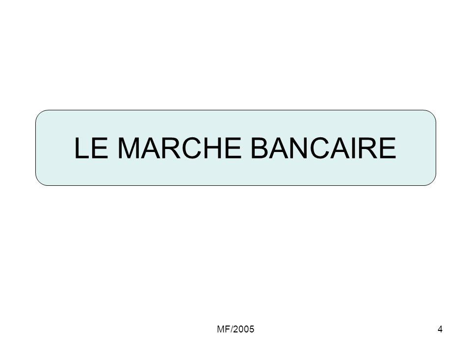 MF/20055 Marché bancaire Cadre institutionnel et légal 5 Banques commerciales (publiques) : classées parmi les 50 premières banques dAfrique dont 3 classées parmi les 10 premières en Afrique du Nord Avec : Un total bilan : 3 à 13 Milliards $ Des fonds propres : 100 à 700 Millions $