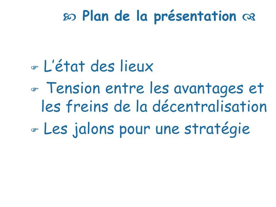 Plan de la présentation Létat des lieux Tension entre les avantages et les freins de la décentralisation Les jalons pour une stratégie