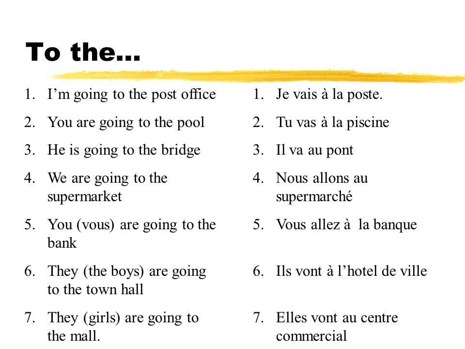 to the… à = to à + le=au à + la=à la à + les=aux à + l=à l 1.Im going to the post office 2.You are going to the pool 3.He is going to the bridge 4.We