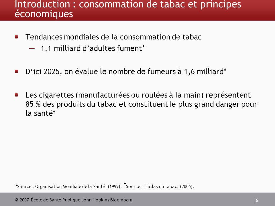 2007 École de Santé Publique John Hopkins Bloomberg 6 Introduction : consommation de tabac et principes économiques Tendances mondiales de la consommation de tabac 1,1 milliard dadultes fument* Dici 2025, on évalue le nombre de fumeurs à 1,6 milliard* Les cigarettes (manufacturées ou roulées à la main) représentent 85 % des produits du tabac et constituent le plus grand danger pour la santé *Source : Organisation Mondiale de la Santé.