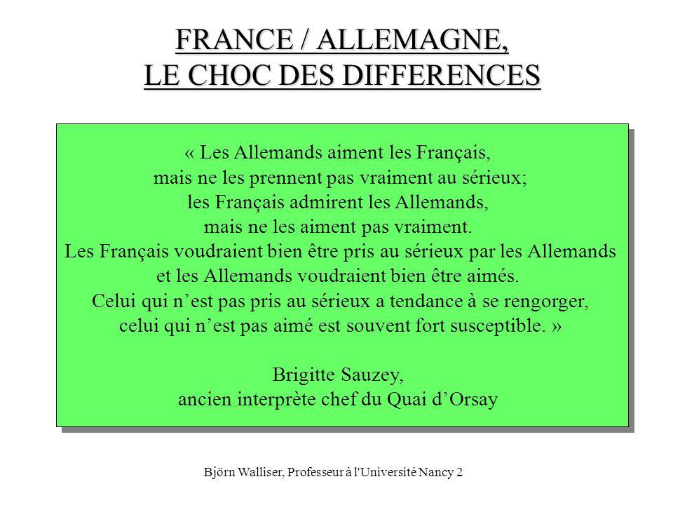 Björn Walliser, Professeur à l'Université Nancy 2 FRANCE / ALLEMAGNE, LE CHOC DES DIFFERENCES « Les Allemands aiment les Français, mais ne les prennen