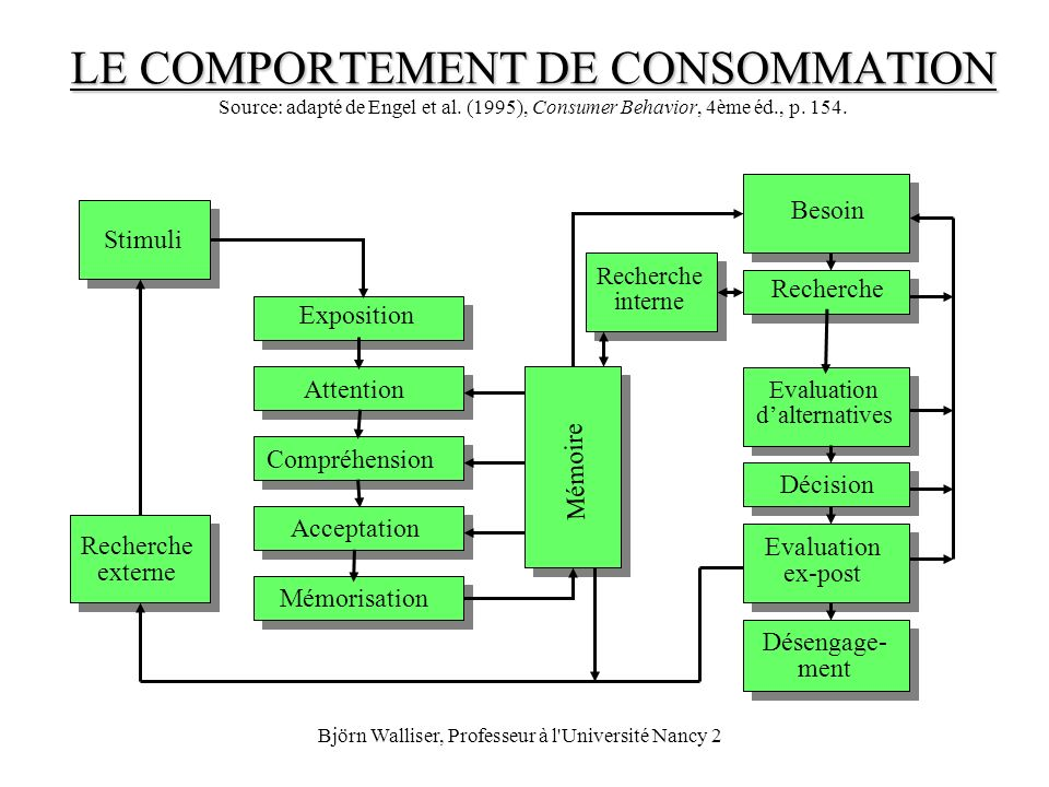 Björn Walliser, Professeur à l'Université Nancy 2 LE COMPORTEMENT DE CONSOMMATION LE COMPORTEMENT DE CONSOMMATION Source: adapté de Engel et al. (1995