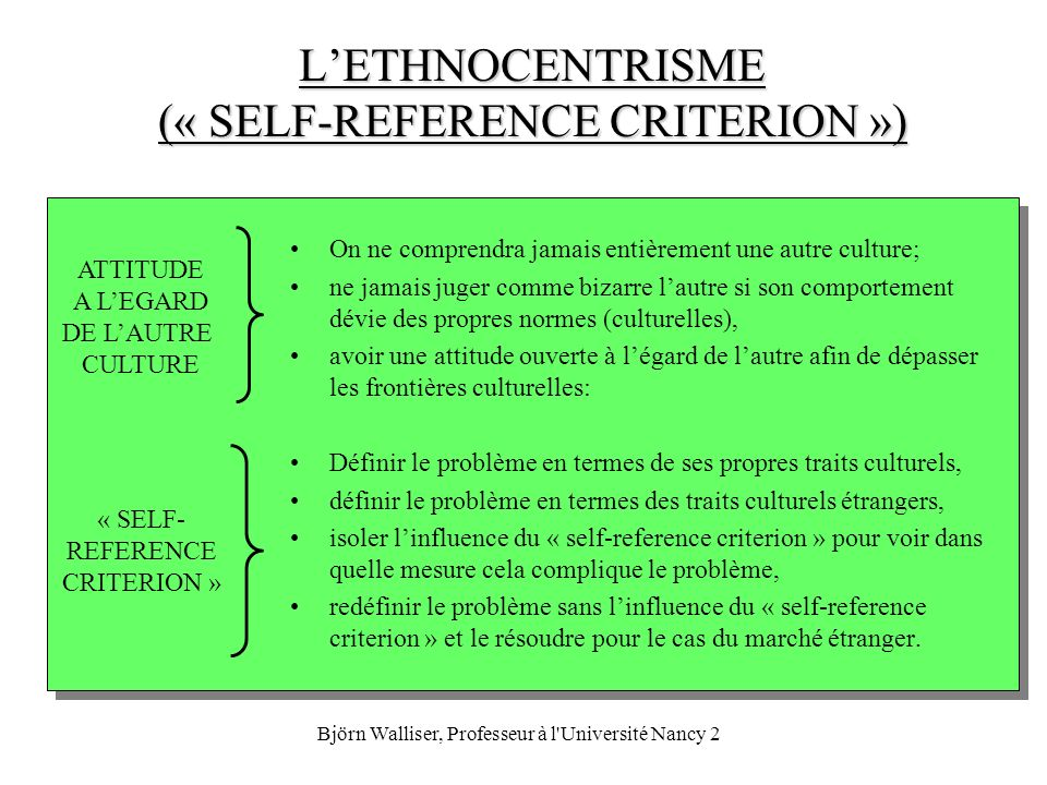 Björn Walliser, Professeur à l'Université Nancy 2 LETHNOCENTRISME (« SELF-REFERENCE CRITERION ») On ne comprendra jamais entièrement une autre culture