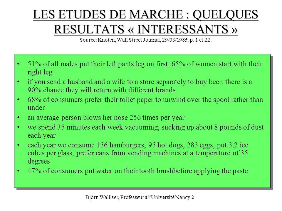 Björn Walliser, Professeur à l'Université Nancy 2 LES ETUDES DE MARCHE : QUELQUES RESULTATS « INTERESSANTS » LES ETUDES DE MARCHE : QUELQUES RESULTATS