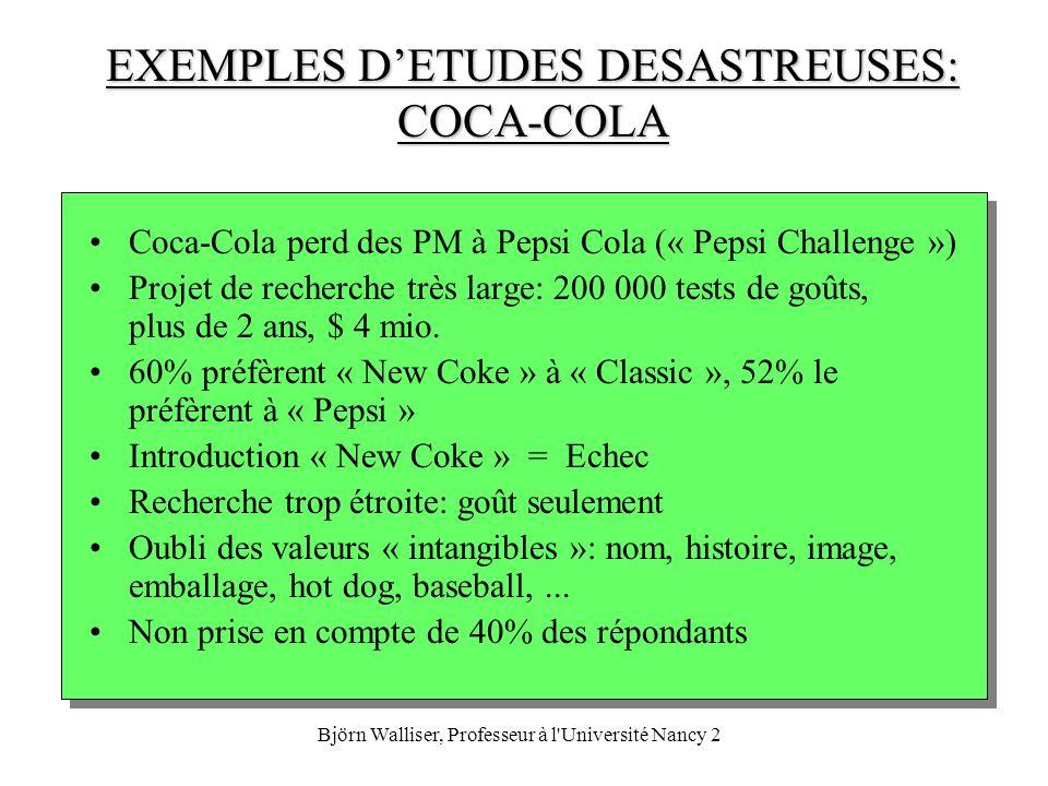 Björn Walliser, Professeur à l'Université Nancy 2 EXEMPLES DETUDES DESASTREUSES: COCA-COLA Coca-Cola perd des PM à Pepsi Cola (« Pepsi Challenge ») Pr