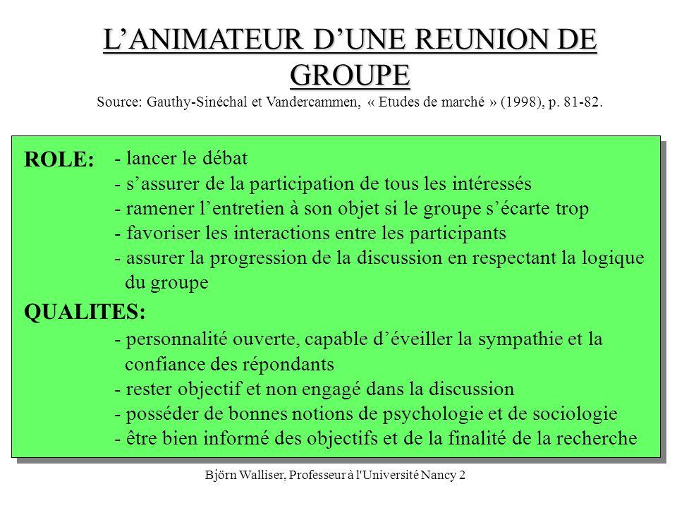 Björn Walliser, Professeur à l'Université Nancy 2 LANIMATEUR DUNE REUNION DE GROUPE LANIMATEUR DUNE REUNION DE GROUPE Source: Gauthy-Sinéchal et Vande