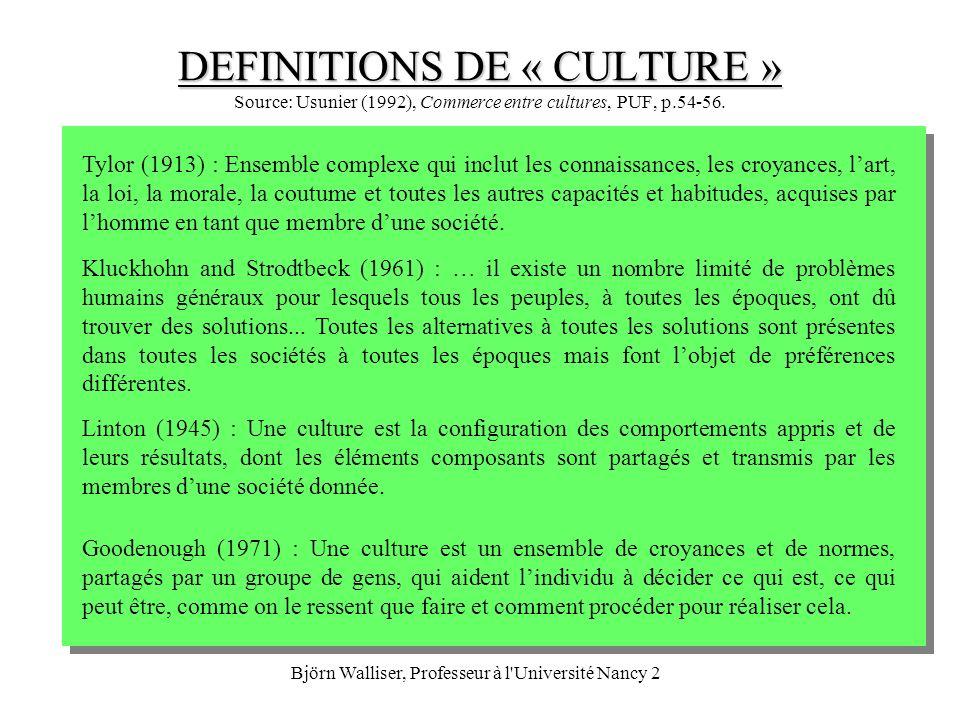 Björn Walliser, Professeur à l Université Nancy 2 LETHNOCENTRISME (« SELF-REFERENCE CRITERION ») On ne comprendra jamais entièrement une autre culture; ne jamais juger comme bizarre lautre si son comportement dévie des propres normes (culturelles), avoir une attitude ouverte à légard de lautre afin de dépasser les frontières culturelles: Définir le problème en termes de ses propres traits culturels, définir le problème en termes des traits culturels étrangers, isoler linfluence du « self-reference criterion » pour voir dans quelle mesure cela complique le problème, redéfinir le problème sans linfluence du « self-reference criterion » et le résoudre pour le cas du marché étranger.