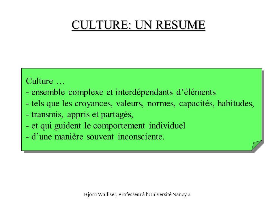 Björn Walliser, Professeur à l Université Nancy 2 SOURCES DE LA CULTURE SOURCES DE LA CULTURE Source: Usunier (2000), Marketing Across Cultures, Prentice Hall, p.