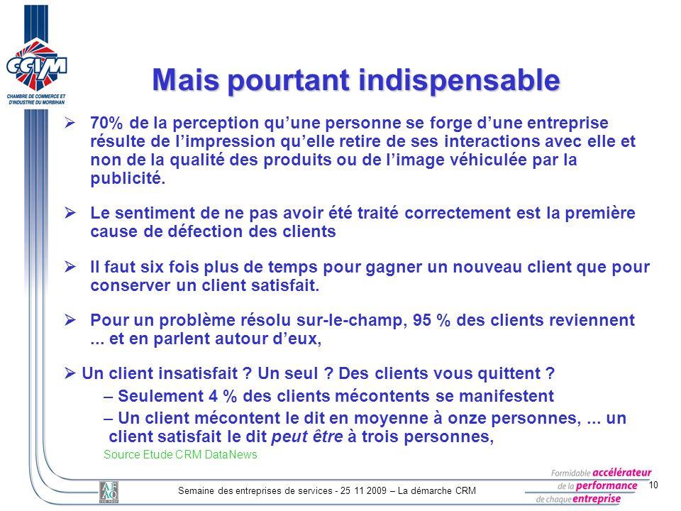 10 Semaine des entreprises de services - 25 11 2009 – La démarche CRM Mais pourtant indispensable 70% de la perception quune personne se forge dune en