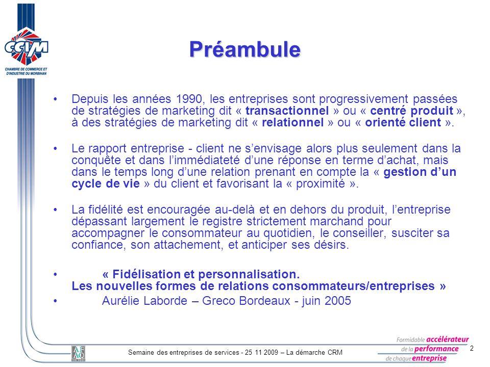 2 Semaine des entreprises de services - 25 11 2009 – La démarche CRM Préambule Depuis les années 1990, les entreprises sont progressivement passées de