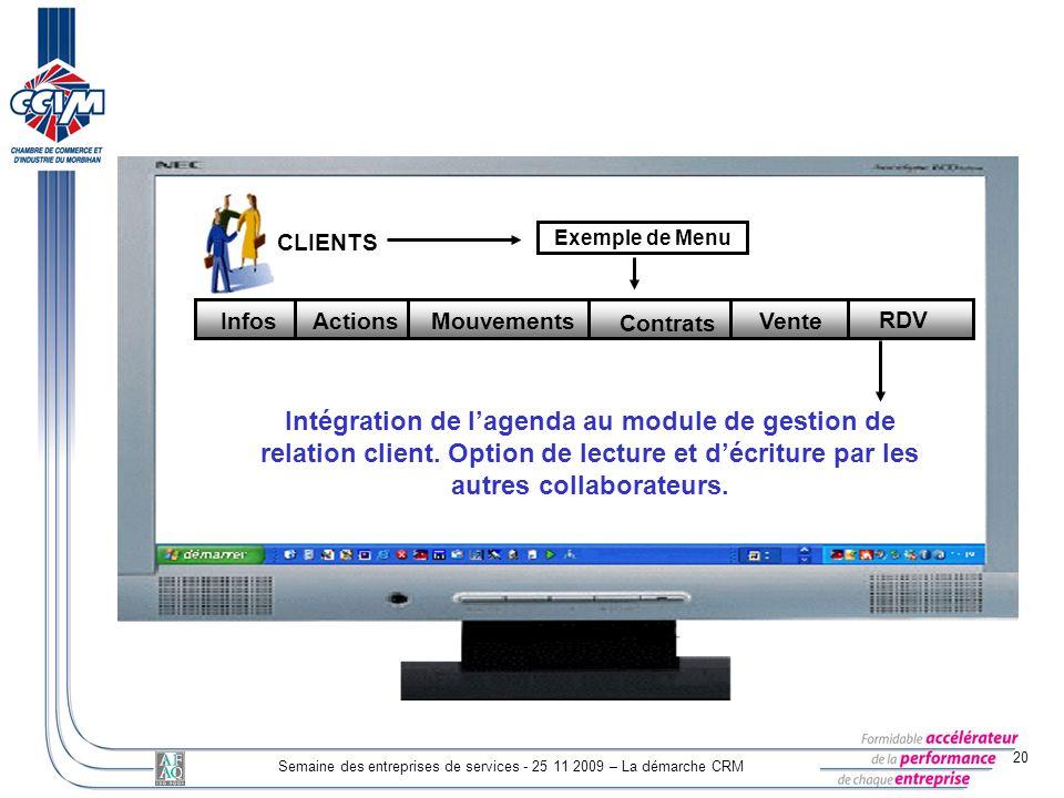 20 Semaine des entreprises de services - 25 11 2009 – La démarche CRM CLIENTS Exemple de Menu Mouvements Contrats Vente RDV Actions Infos Intégration