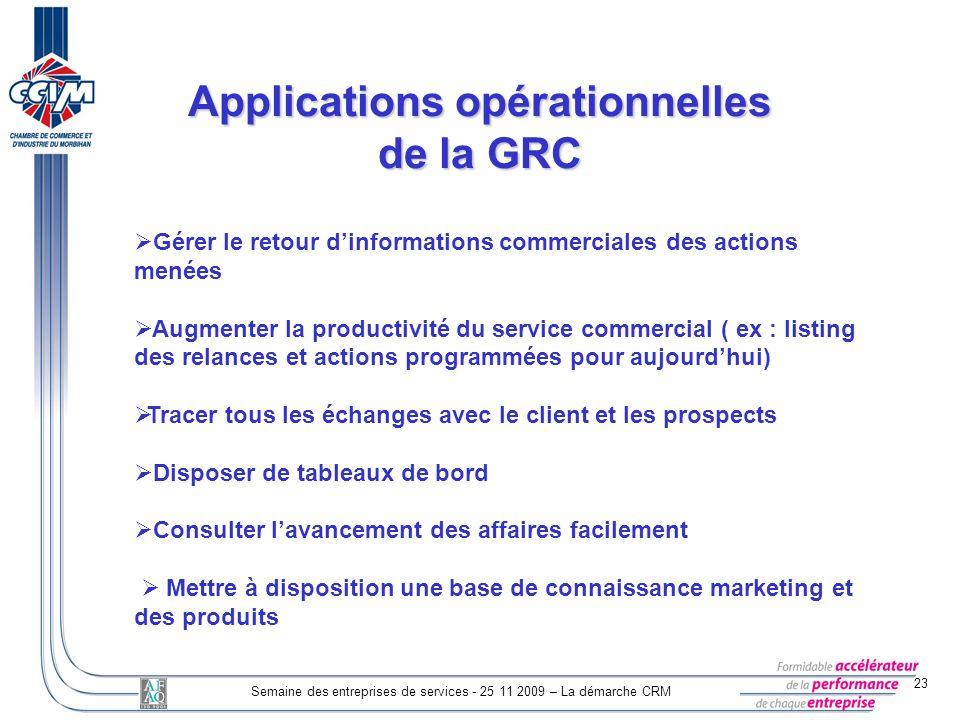 23 Semaine des entreprises de services - 25 11 2009 – La démarche CRM Gérer le retour dinformations commerciales des actions menées Augmenter la produ