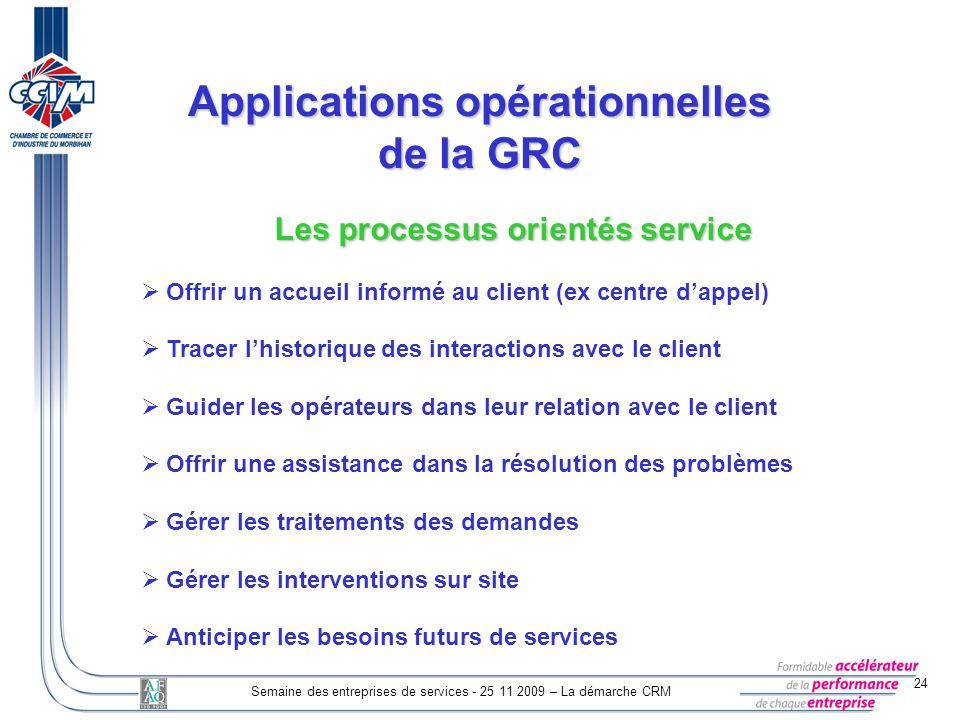 24 Semaine des entreprises de services - 25 11 2009 – La démarche CRM Applications opérationnelles de la GRC Les processus orientés service Offrir un