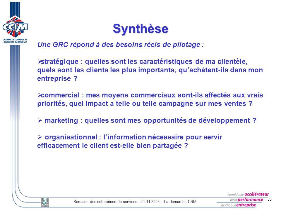 30 Semaine des entreprises de services - 25 11 2009 – La démarche CRM Synthèse Une GRC répond à des besoins réels de pilotage : stratégique : quelles
