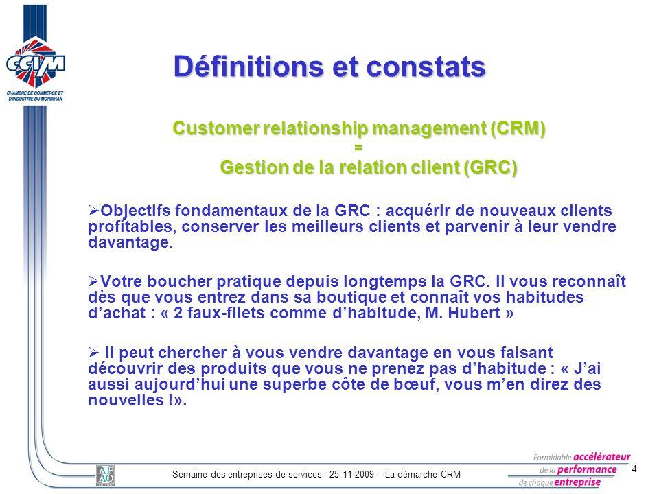 4 Semaine des entreprises de services - 25 11 2009 – La démarche CRM Customer relationship management (CRM) = Gestion de la relation client (GRC) Gest