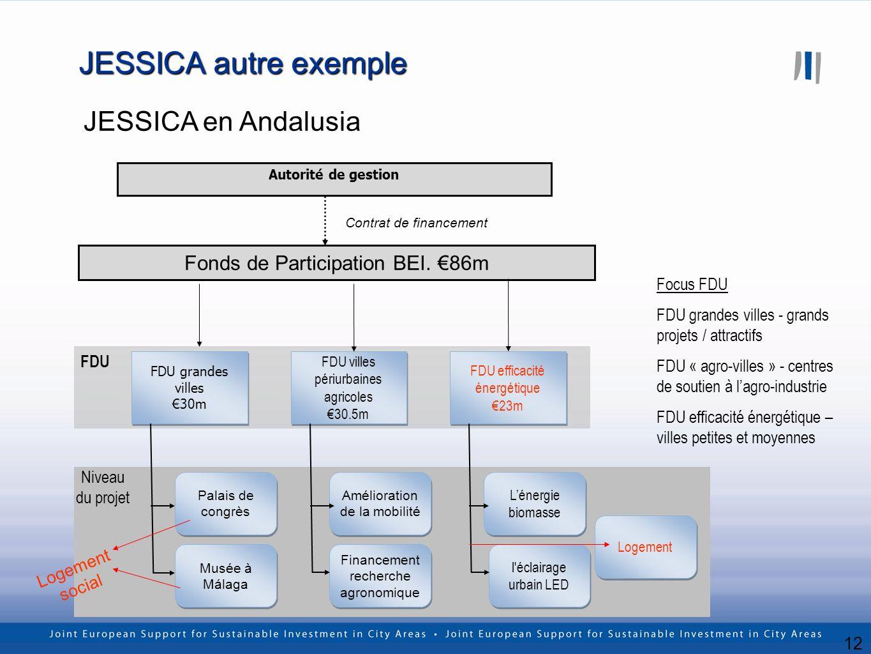12 JESSICA autre exemple JESSICA en Andalusia Fonds de Participation BEI. 86m FDU grandes villes 30m FDU grandes villes 30m Autorité de gestion Contra