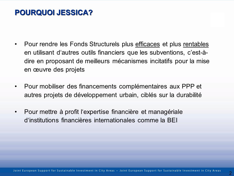 2 POURQUOI JESSICA? Pour rendre les Fonds Structurels plus efficaces et plus rentables en utilisant dautres outils financiers que les subventions, ces