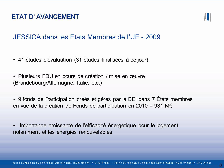8 ETAT D AVANCEMENT JESSICA dans les Etats Membres de lUE - 2009 41 études d'évaluation (31 études finalisées à ce jour). Plusieurs FDU en cours de cr