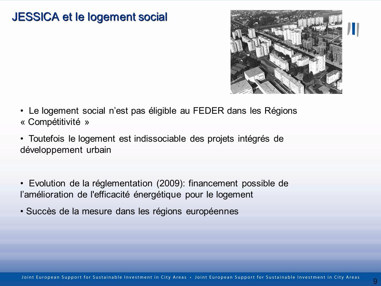 9 JESSICA et le logement social Le logement social nest pas éligible au FEDER dans les Régions « Compétitivité » Toutefois le logement est indissociable des projets intégrés de développement urbain Evolution de la réglementation (2009): financement possible de lamélioration de l efficacité énergétique pour le logement Succès de la mesure dans les régions européennes