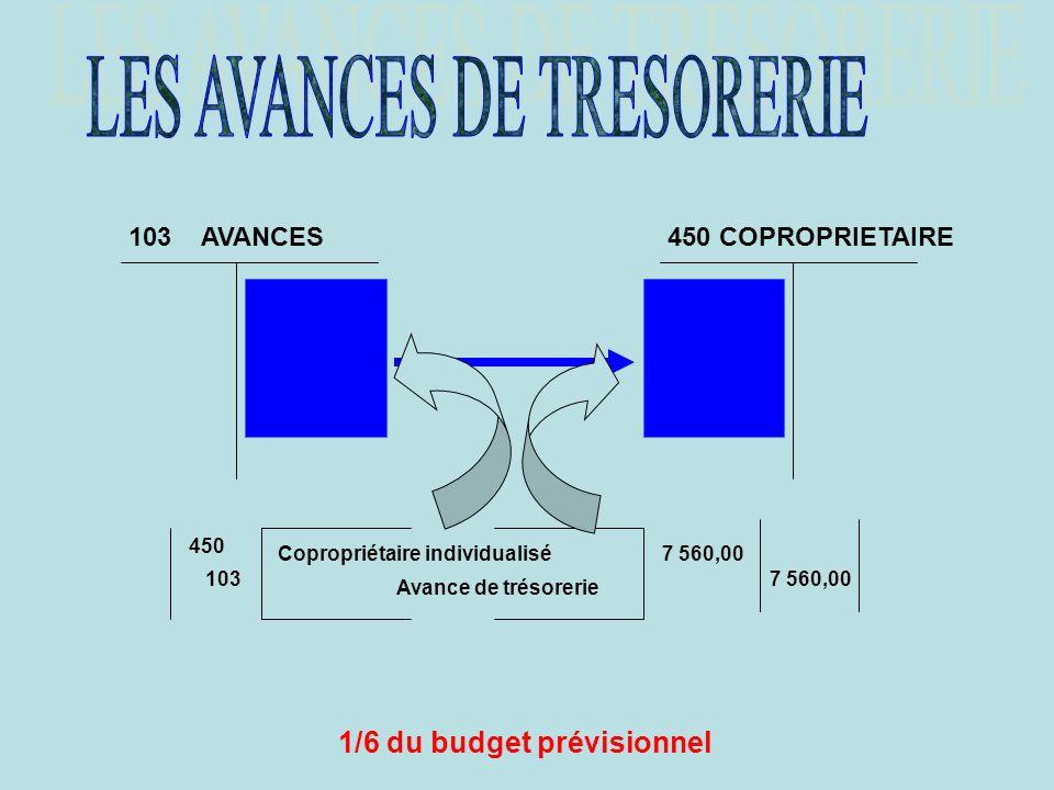 1/6 du budget prévisionnel 103 AVANCES450 COPROPRIETAIRE 450 103 Copropriétaire individualisé Avance de trésorerie 7 560,00 DETTE CREANCE LAVANCE CONS