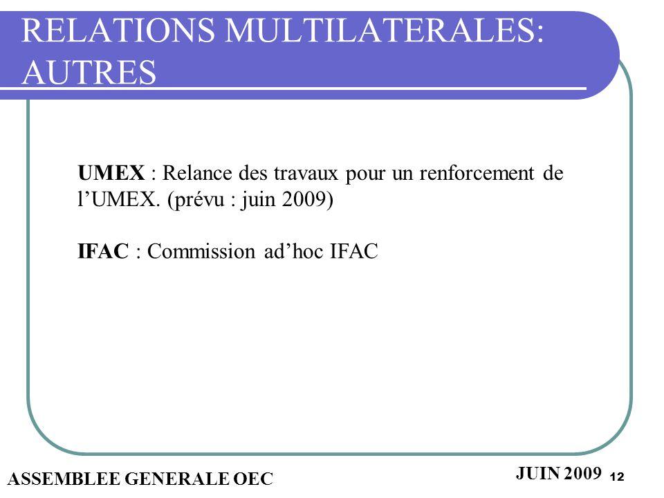 12 RELATIONS MULTILATERALES: AUTRES ASSEMBLEE GENERALE OEC JUIN 2009 UMEX : Relance des travaux pour un renforcement de lUMEX. (prévu : juin 2009) IFA