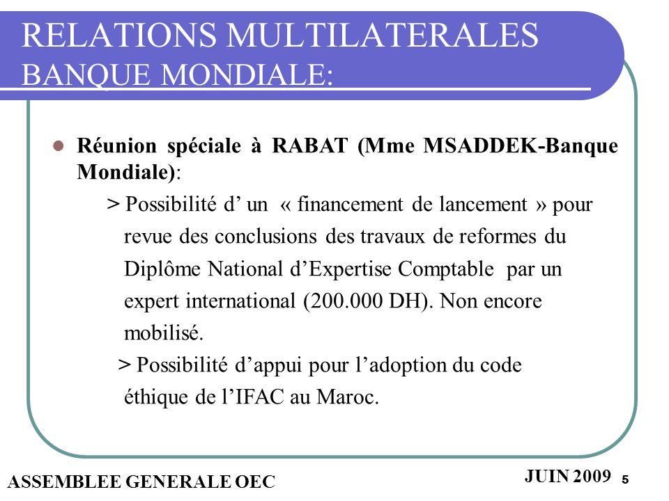 5 RELATIONS MULTILATERALES BANQUE MONDIALE: Réunion spéciale à RABAT (Mme MSADDEK-Banque Mondiale): > Possibilité d un « financement de lancement » po