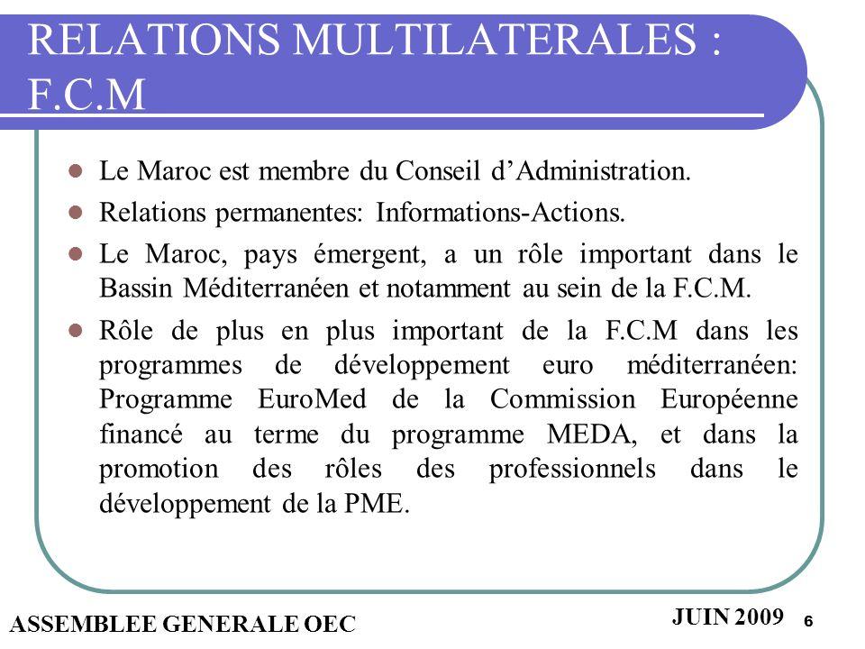 6 RELATIONS MULTILATERALES : F.C.M Le Maroc est membre du Conseil dAdministration. Relations permanentes: Informations-Actions. Le Maroc, pays émergen