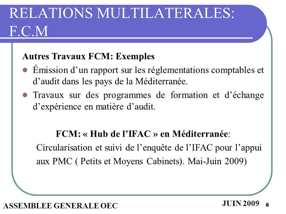 8 RELATIONS MULTILATERALES: F.C.M Autres Travaux FCM: Exemples Émission dun rapport sur les réglementations comptables et daudit dans les pays de la M