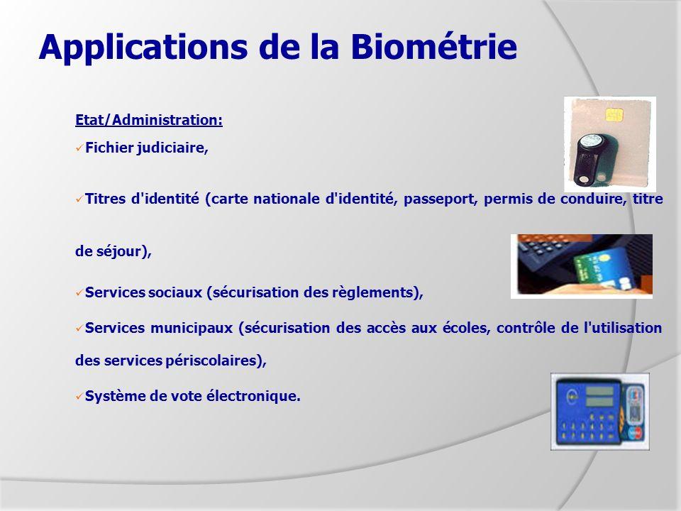 Applications de la Biométrie Etat/Administration: Fichier judiciaire, Titres d'identité (carte nationale d'identité, passeport, permis de conduire, ti