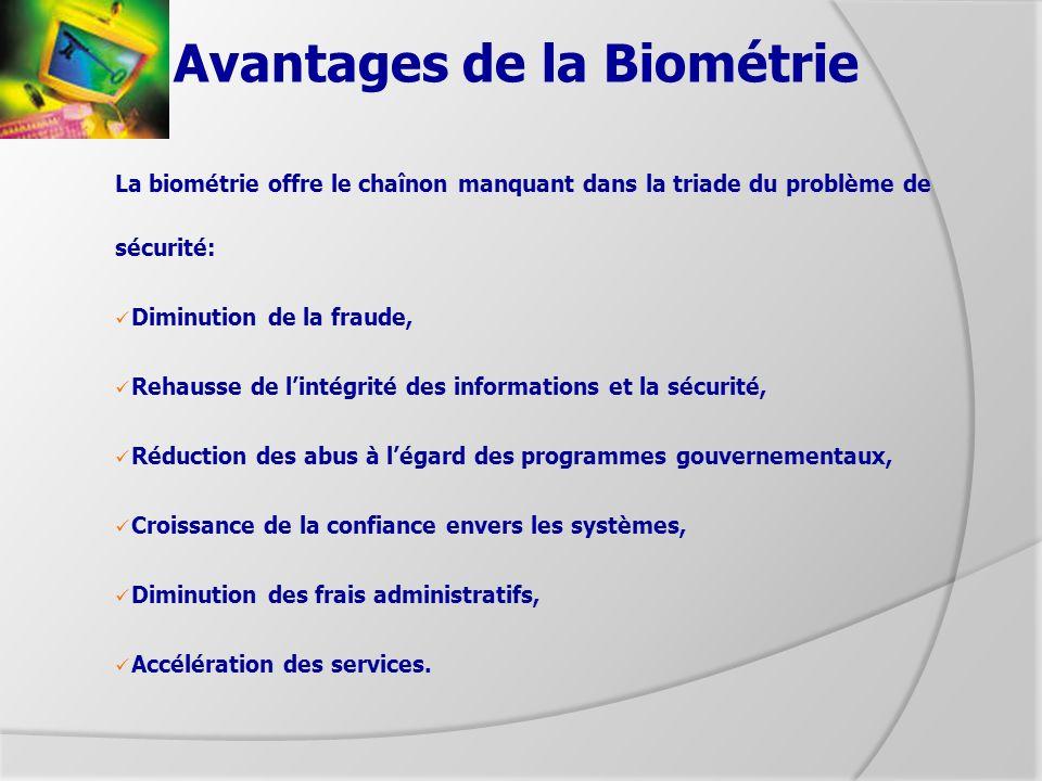 Avantages de la Biométrie La biométrie offre le chaînon manquant dans la triade du problème de sécurité: Diminution de la fraude, Rehausse de lintégri