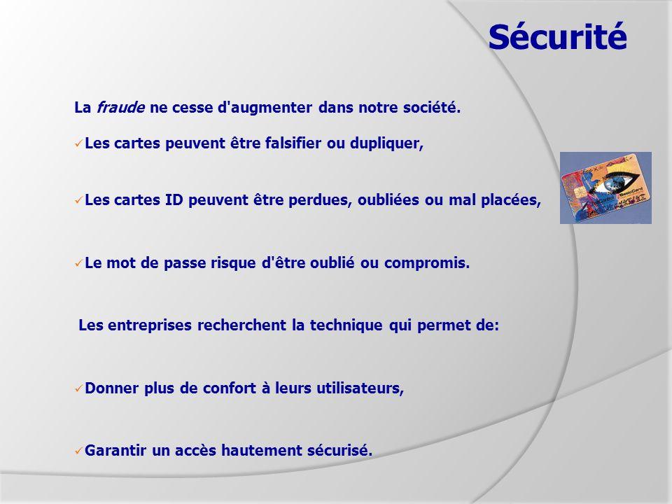 Sécurité La fraude ne cesse d'augmenter dans notre société. Les cartes peuvent être falsifier ou dupliquer, Les cartes ID peuvent être perdues, oublié