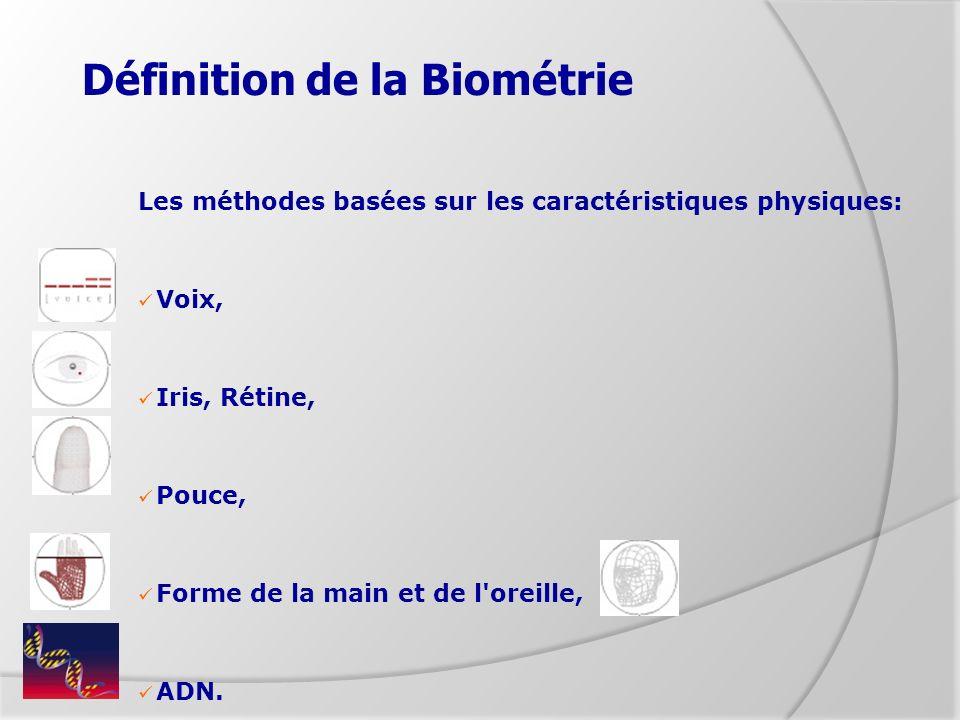 Définition de la Biométrie Les méthodes basées sur les caractéristiques physiques: Voix, Iris, Rétine, Pouce, Forme de la main et de l'oreille, ADN.
