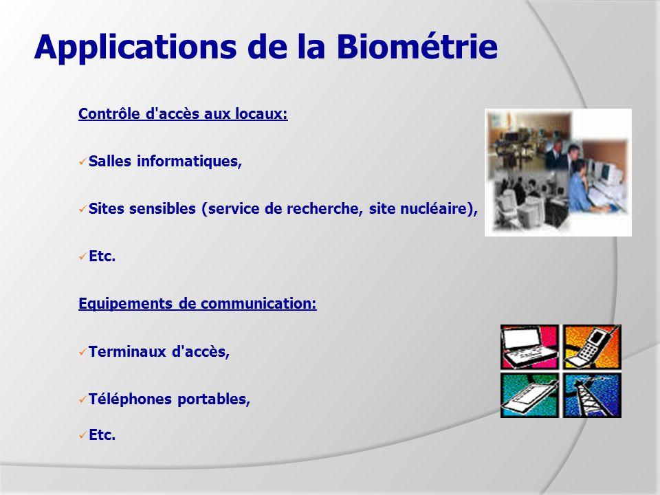 Applications de la Biométrie Contrôle d'accès aux locaux: Salles informatiques, Sites sensibles (service de recherche, site nucléaire), Etc. Equipemen