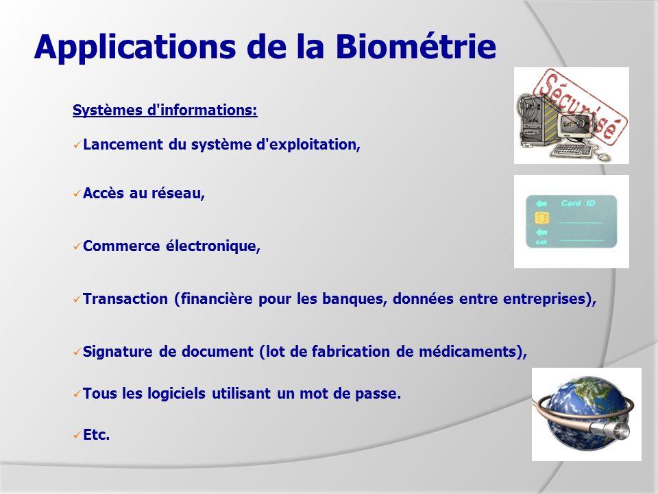 Applications de la Biométrie Systèmes d'informations: Lancement du système d'exploitation, Accès au réseau, Commerce électronique, Transaction (financ