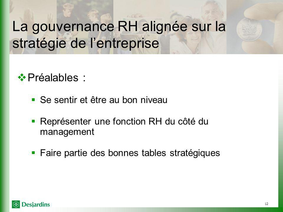 12 La gouvernance RH alignée sur la stratégie de lentreprise Préalables : Se sentir et être au bon niveau Représenter une fonction RH du côté du management Faire partie des bonnes tables stratégiques