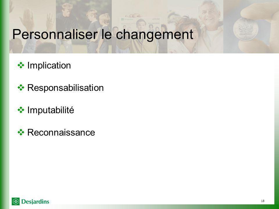 18 Personnaliser le changement Implication Responsabilisation Imputabilité Reconnaissance