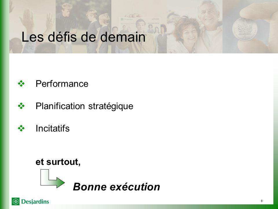 8 Les défis de demain Performance Planification stratégique Incitatifs et surtout, Bonne exécution