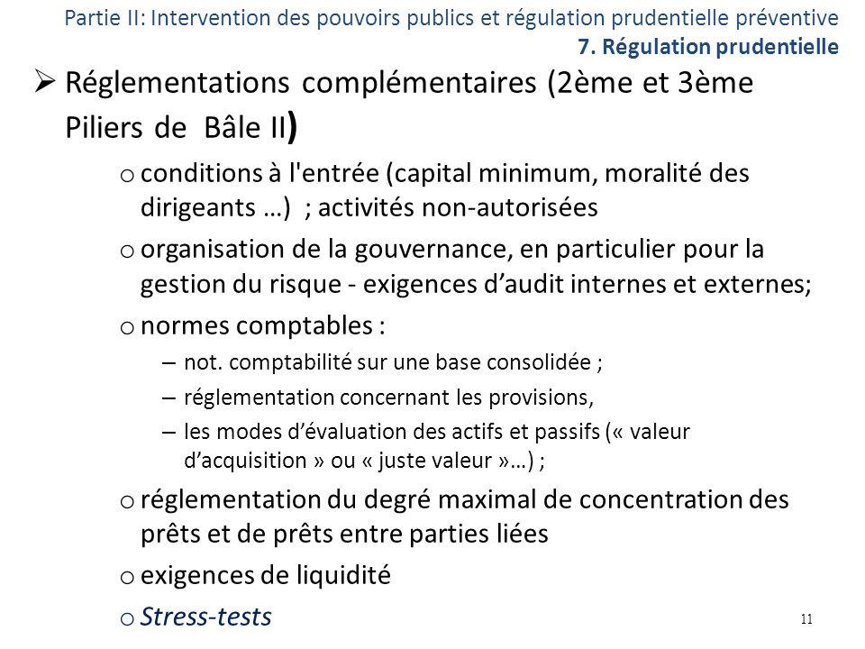 Réglementations complémentaires (2ème et 3ème Piliers de Bâle II ) o conditions à l'entrée (capital minimum, moralité des dirigeants …) ; activités no