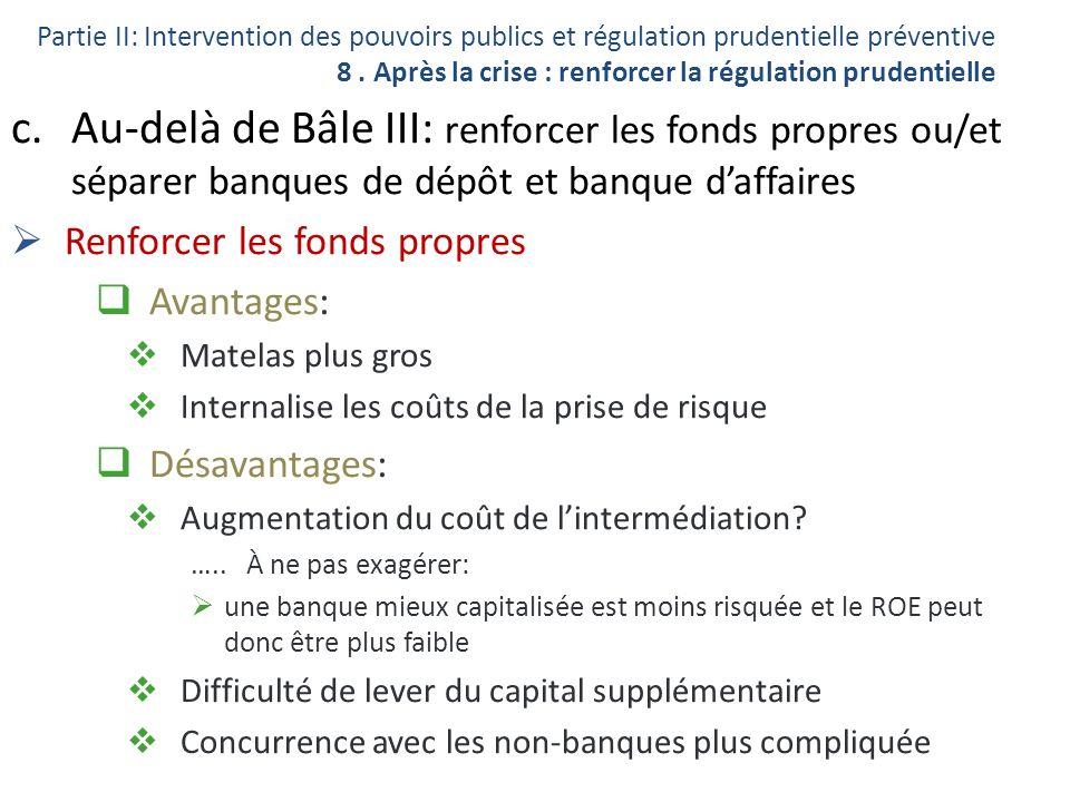 c.Au-delà de Bâle III: renforcer les fonds propres ou/et séparer banques de dépôt et banque daffaires Renforcer les fonds propres Avantages: Matelas p