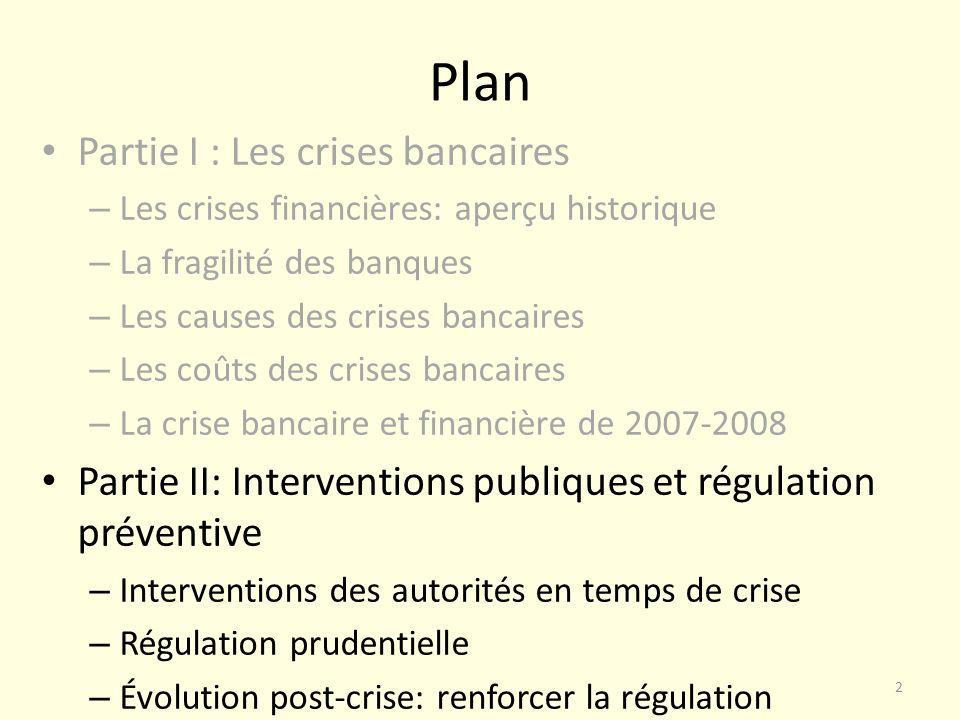 Plan Partie I : Les crises bancaires – Les crises financières: aperçu historique – La fragilité des banques – Les causes des crises bancaires – Les co
