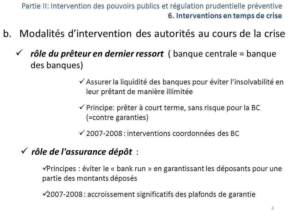 Partie II: Intervention des pouvoirs publics et régulation prudentielle préventive 6. Interventions en temps de crise b.Modalités dintervention des au