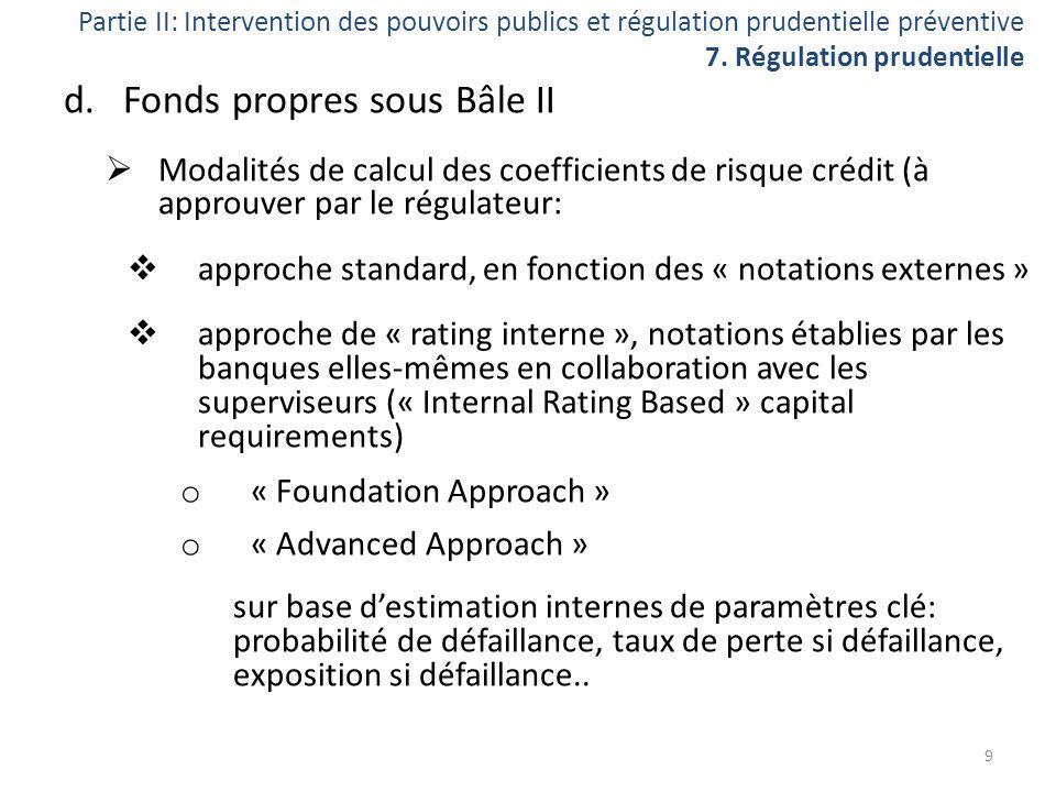 Partie II: Intervention des pouvoirs publics et régulation prudentielle préventive 7. Régulation prudentielle d.Fonds propres sous Bâle II Modalités d