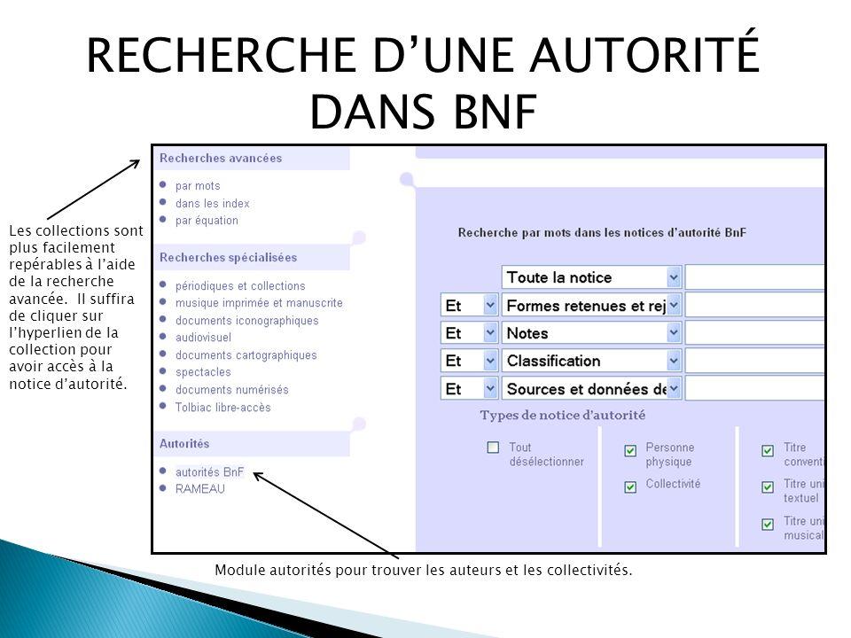 RECHERCHE DUNE AUTORITÉ DANS BNF Module autorités pour trouver les auteurs et les collectivités.