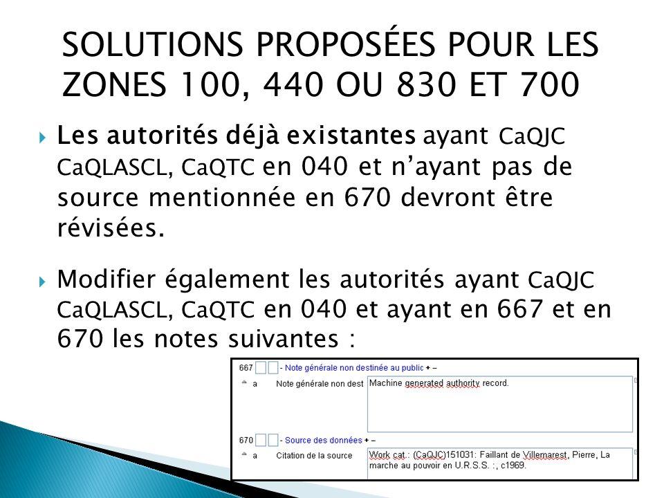 Les autorités déjà existantes ayant CaQJC CaQLASCL, CaQTC en 040 et nayant pas de source mentionnée en 670 devront être révisées.
