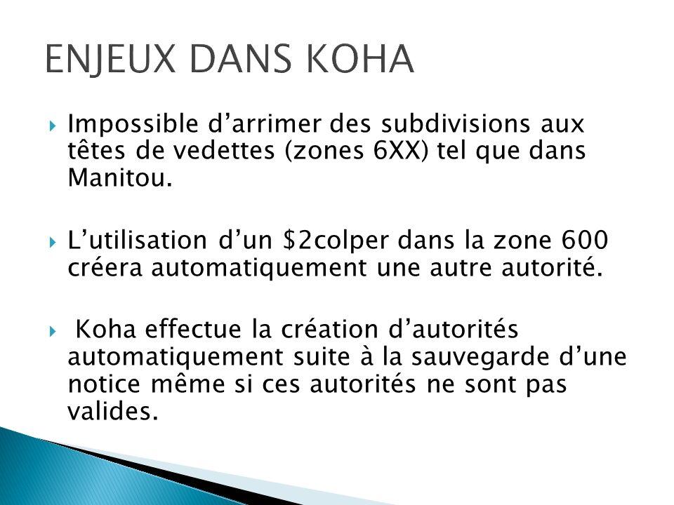 AFFICHAGE DUNE AUTORITÉ COLLECTION DANS BNF Il sagit de la forme acceptée zone 130 dans Koha.