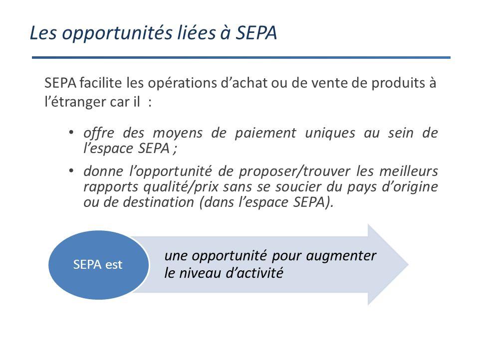 Les opportunités liées à SEPA offre des moyens de paiement uniques au sein de lespace SEPA ; donne lopportunité de proposer/trouver les meilleurs rapports qualité/prix sans se soucier du pays dorigine ou de destination (dans lespace SEPA).